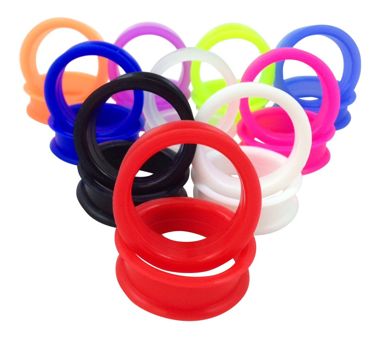 -10 PAIR SET - Soft Silicone Ear Tunnels Plugs Gauges Earlets - up to size 50mm! (1&7/8'' (48mm)) by Lobal Domination