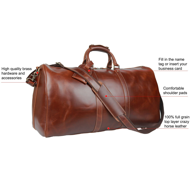 Huntvp Mens Leather Travel Duffel Bag Vintage Weekender Carry On Brown Luggage Bag by Huntvp (Image #3)