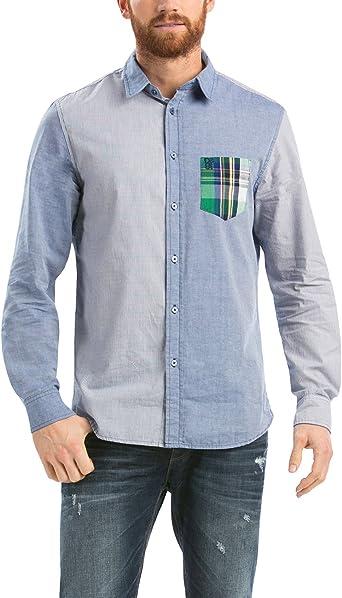 Desigual CAM_Carlos Camisa, Bleu (Celeste), L para Hombre: Amazon.es: Ropa y accesorios
