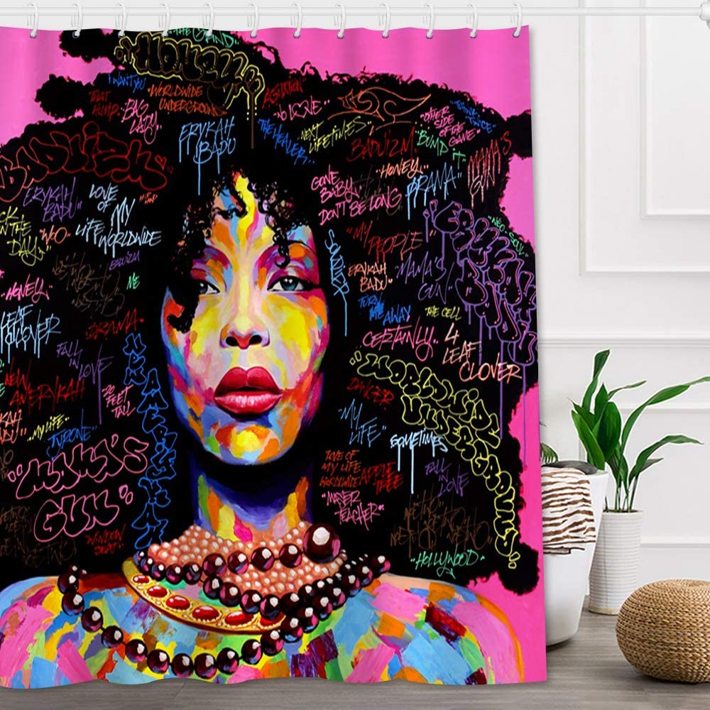 Colorful Queen Shower Curtain. ***WOW**LOOK***African American black women