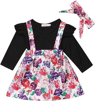 Fashionnel Baby Girls Autumn Outfits Clothes Shirt Tops+Skirt Strap Dress 2PCS Set