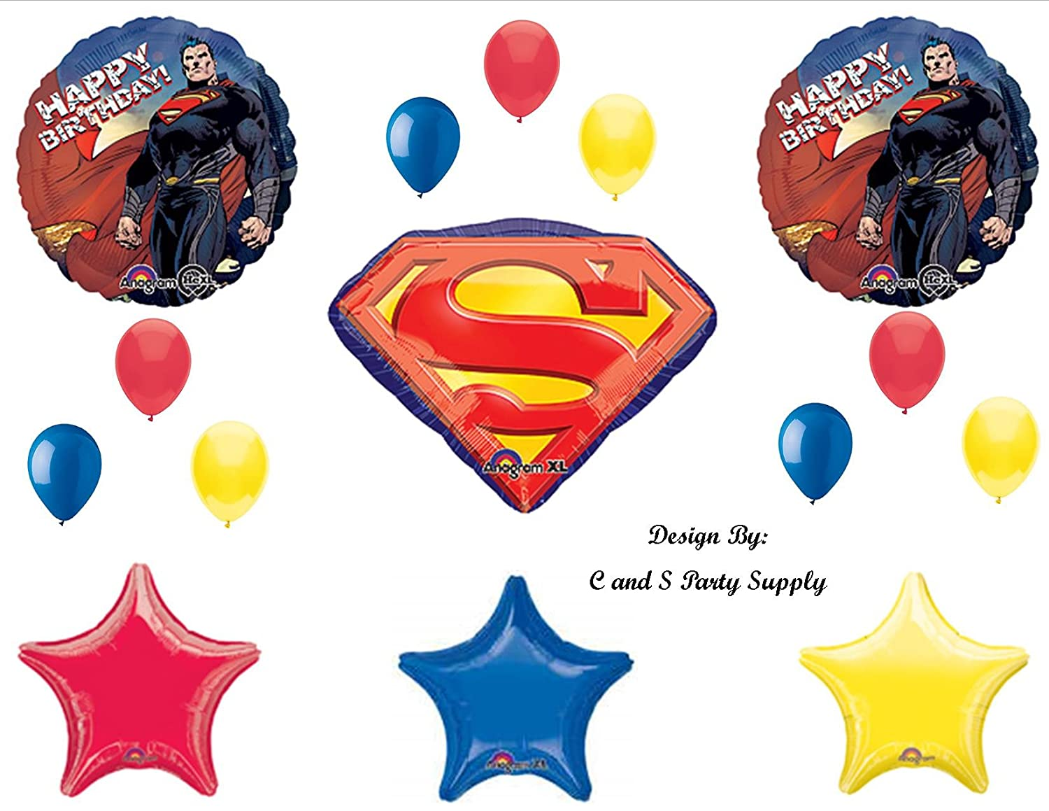 Amazon NEW SUPERMAN Man Of Steel Super Hero Happy Birthday PARTY Balloons Decorations Supplies Toys Games