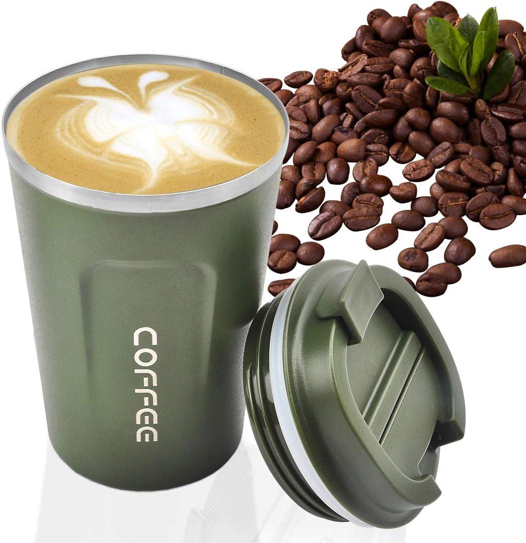 MOMSIV - Taza de café reutilizable al vacío a prueba de fugas de doble pared, aislamiento de acero inoxidable ecológico, taza de viaje para café, té y bebidas frías (verde))