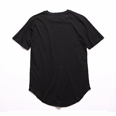 96f7b98c4 Smakke Men's T Shirt Kanye West Extended T-Shirt Men Clothing Curved Hem  Long Line Tops Hip Hop Urban Blank Justin Bieber | Amazon.com