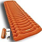 INVOKER Colchoneta inflable ultraligera para acampar – Colchoneta con bomba de pie integrada, colchón de aire ligero y compac
