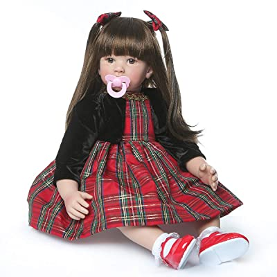 TERABITHIA 24inch Big Size 60cm Reborn Toddler Princess Doll Lifelike Handmade Long Hair Silicone Vinyl Newborn Girl Doll Child Xmas Birthday Gift: Toys & Games