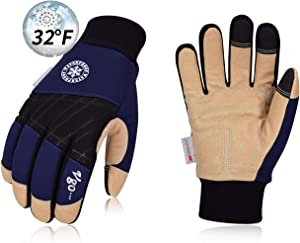Vgo 32℉ or above 3M Thinsulate C40 Lined Winter Premium Pigskin Leather Waterproof Work Gloves (1Pair,Size L,Dark Blue,PA1015FW)