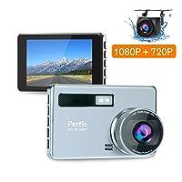 Amazon.com deals on Peztio FHD 1080P Dash Camera for Cars w/HD 720P Rear Camera