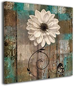 Gracesmile White Flower Brown Teal 12