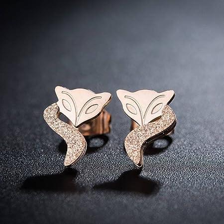 HOX Creative Simple Rose Gold Titanium Steel Fox Stud Earrings Female  Hypoallergenic Animal Earrings Trinkets 17d17a2557