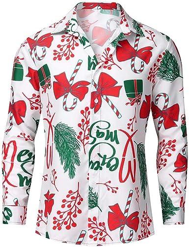 ACEBABY Camisas Hombre Navidad Manga Larga Retro Solapa ...