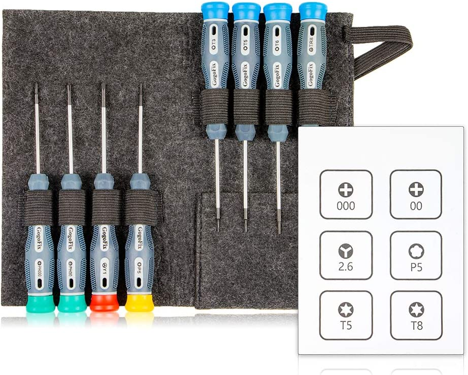 GogoFix Precision 8-Piece Screwdriver Set (P5, T3, T5, T6, TR8, 00, 000, Y1) Compatible with MacBook Retina and MacBook Air Repair and Replacement
