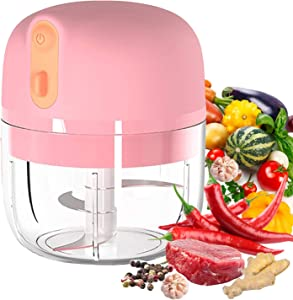 VOUM Electric Mini Garlic Chopper, Food Slicer and Chopper, Portable Garlic Blender Mini Chopper Food Processor for Garlic, Vegetables, Fruits, Meat, Onions (250 ml) (Pink)