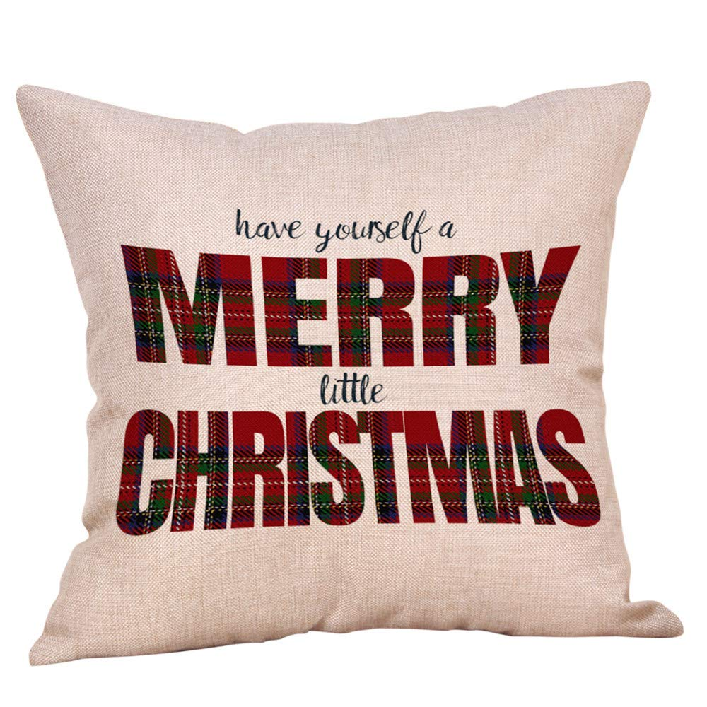 Rambling クリスマステーマ クッションカバー 正方形 装飾用 ソフト枕カバー クリスマスシリーズ クッションカバー コットン枕カバー 18インチ×18インチ リネンブレンド M Rambling B07J46NSM9 F