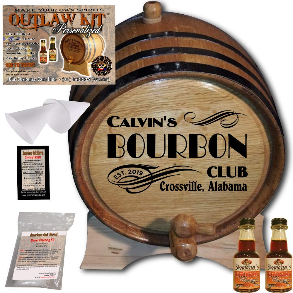 Personalized Whiskey Making Kit (202) - Create Your Own Spiced Bourbon Whiskey - The Outlaw Kit from Skeeter's Reserve Outlaw Gear - MADE BY American Oak Barrel - (Oak, Black Hoops, 2 Liter)