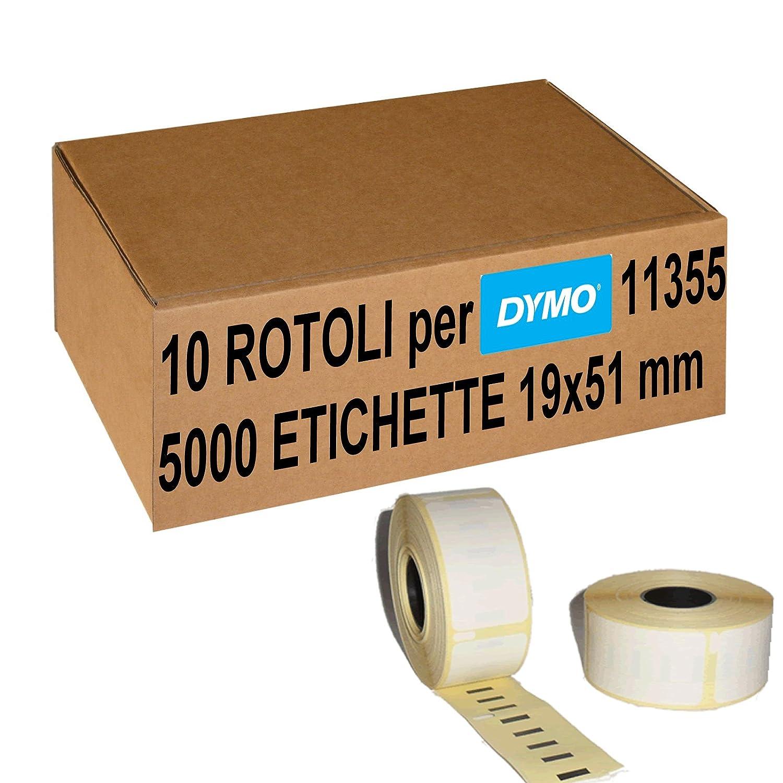 Confezione 10 Rotoli Etichette Adesive Compatibili Per Dymo 11355 19x51 mm (S0722550) 5 Stelle