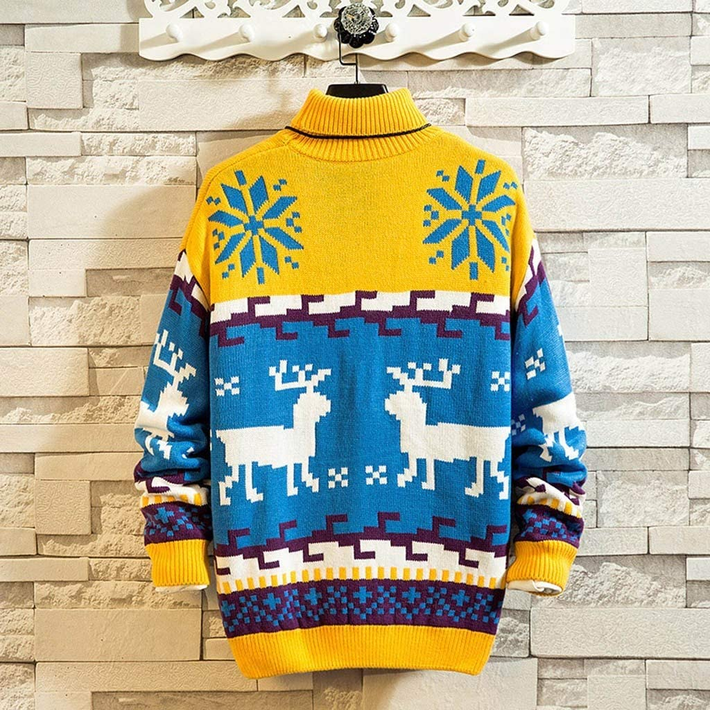 Graphic Ugly Novelty Santa Stand Collar Pullover Jumpers for Xmas Holidays Stoota Mens Latest Stylish Christmas Sweaters
