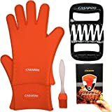5Pack Silicone Cooking Glove Meat Shredder - Including Heat Resistant Gloves, Solid Prong Meat Shredders and Silicone Basting Brush for Cooking, Grilling, Baking, Barbecue