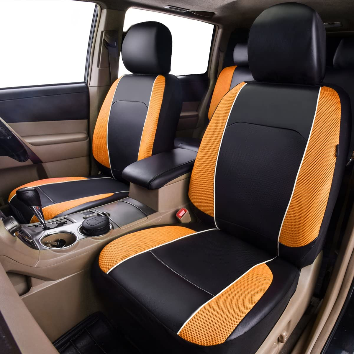 CAR PASS Univesal Coche Fundas para asientos frontales Airbag Compatible de piel sint/ética transpirable