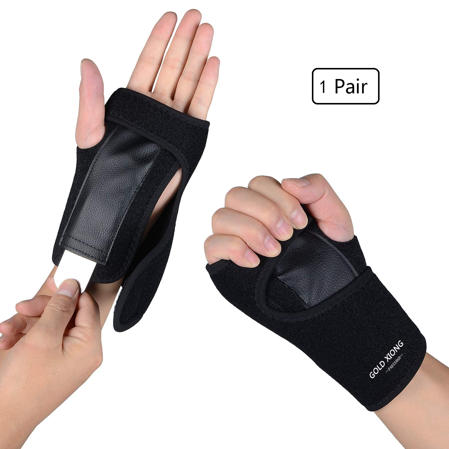 Wrist Brace ,One Pair Removable Wrist hand Splint Support Training Protector Wrist Wraps for Night Sleep ,provide support for Carpal Tunnel, Injuries,Wrist Pain, Sprain, Gym Fitness Bands, by Gold Xiong