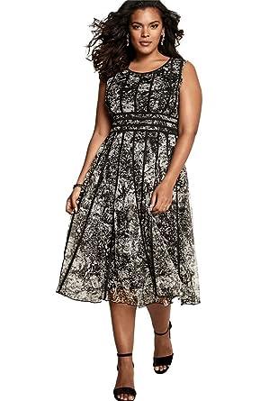 Roamans Women\'s Plus Size Mesh Dress Black Abstract Print, 14 W at ...