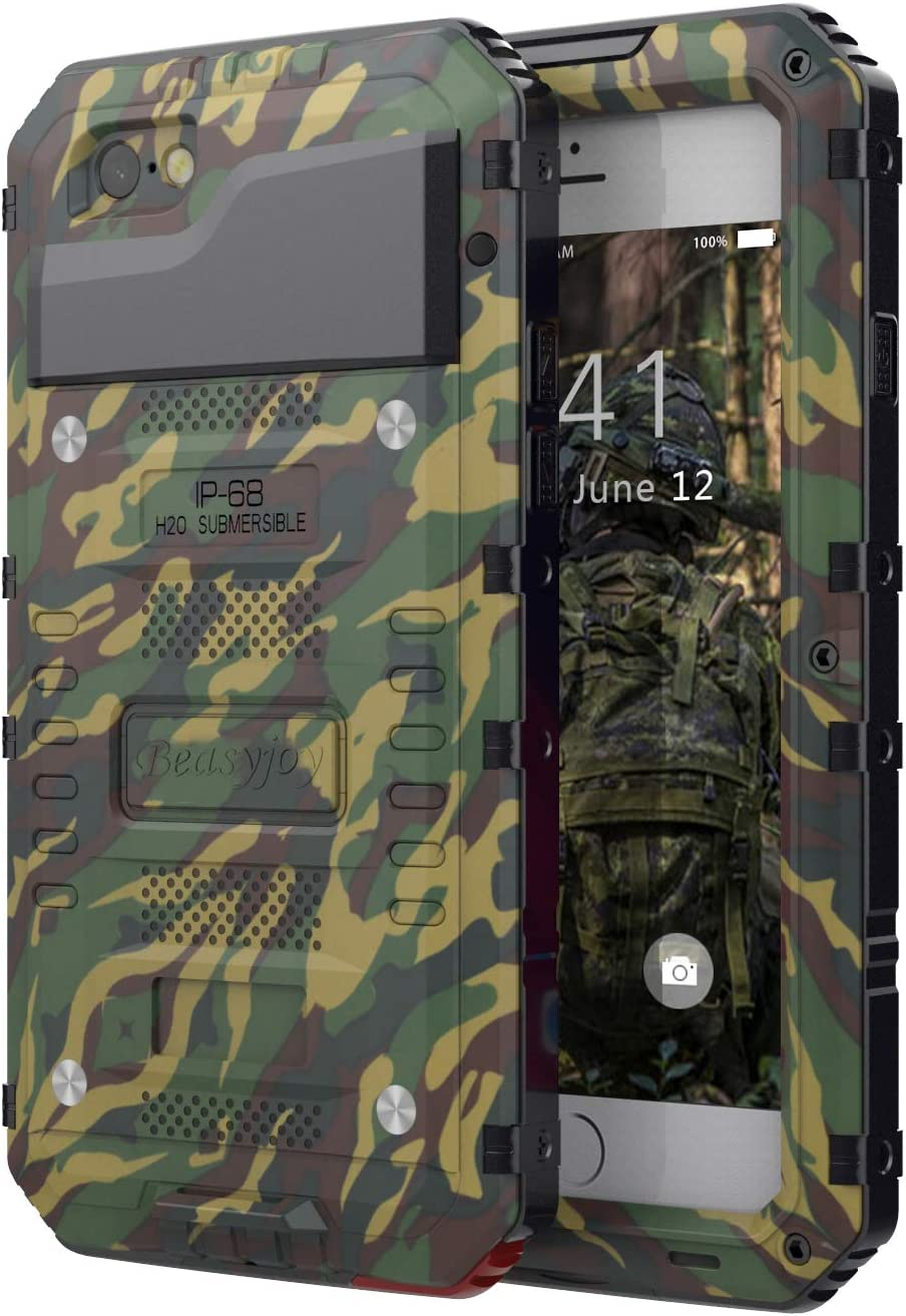 Beasyjoy iPhone 6 Plus Case iPhone 6s Plus Metal Case with Screen Military Grade Heavy Duty Dropproof Shockproof Waterpproof Rugged Outdoor Protection Camo