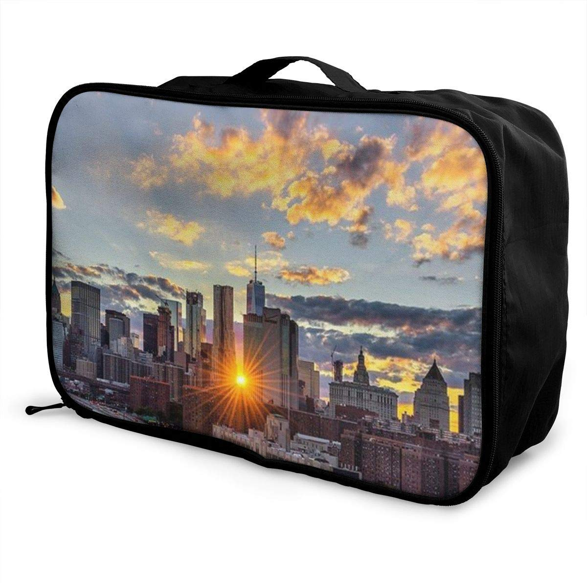 Portable Luggage Duffel Bag Beautiful New York Travel Bags Carry-on In Trolley Handle