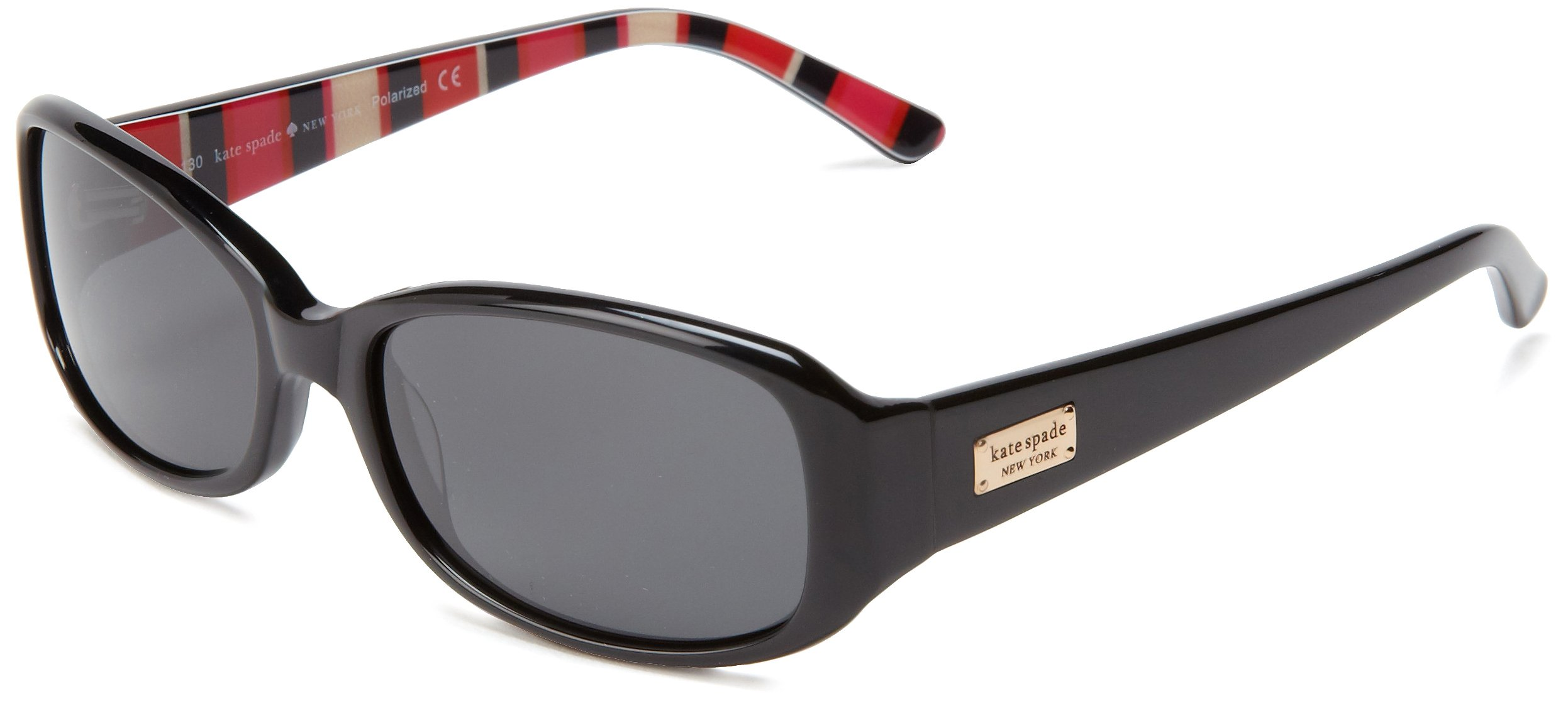 Kate Spade Paxtons Rectangular Sunglasses,Black Stripe,53 mm