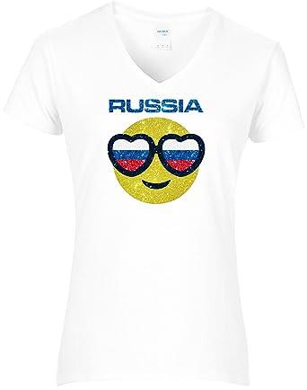 Damen Wm Shirt Glitzerdruck Fussball Russland Smiley Mit