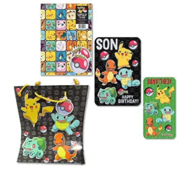 Pokemon Gift Wrap With Son And Brother Birthday Card Pack Bag