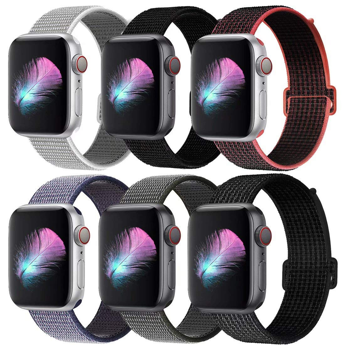 HILIMNY Compatible for Apple Watch Band 38mm 40mm, New Nylon Sport Loop, Adjustable Closure Wrist Strap, Replacement Band Compatible for iWatch Series 4 3 2 1(38mm 40mm, Colorful)