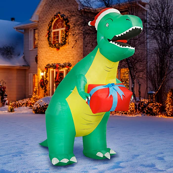 Holidayana T-Rex Dinosaur Christmas Inflatable - 8 ft Tall Tyrannosaurus Rex with Gift Christmas Inflatable Outdoor Yard Decoration with LED Lights, Fan, and Stakes