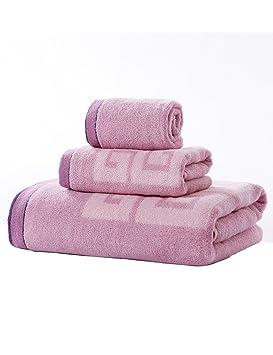 Toalla de algodón Simple Absorbente Toallas Suave Grande Hombres y Toalla Universal de Las Mujeres Tres - Pieza 34 * 36cm + 72 * 36cm + 150 * 73cm: ...