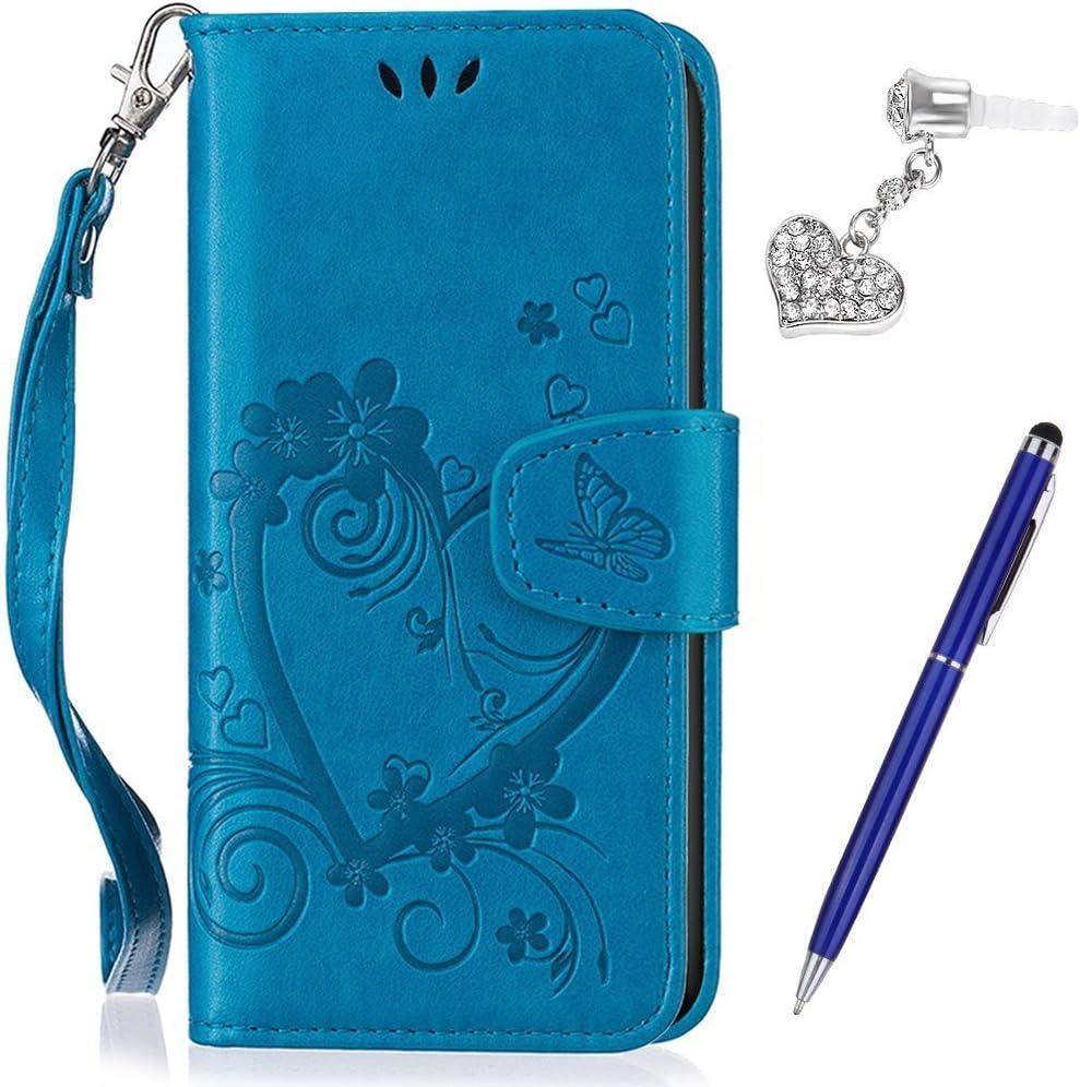 Kompatibel mit Huawei P20 Lite H/ülle,Huawei P20 Lite Schutzh/ülle,Pr/ägung Liebes Herz Schmetterlings Blumen PU Lederh/ülle Flip H/ülle Handyh/ülle Tasche Wallet Case Schutzh/ülle f/ür Huawei P20 Lite,Blau