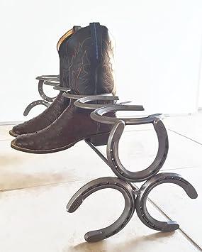 Handmade Horseshoe Boot Rack 3 Pairs The Heritage Forge Polished Natural Metal