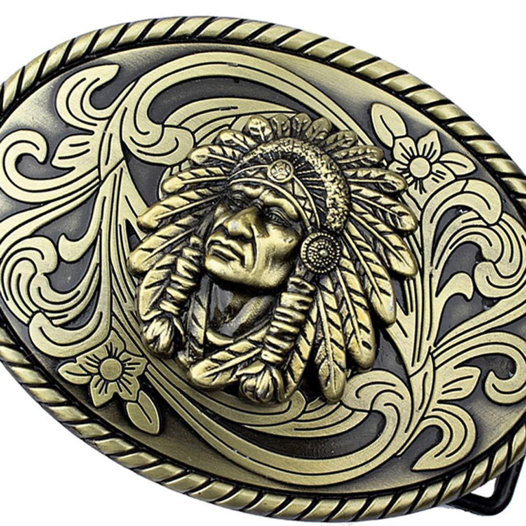 Fashion Cowboy Belt Buckle Alloy Indian Chef Green Herb Buckle Mens Bronze