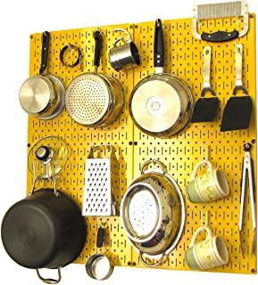 product image for Wall Control Kitchen Pegboard Organizer Pots and Pans Pegboard Pack Storage and Organization Kit with Yellow Pegboard and White Accessories