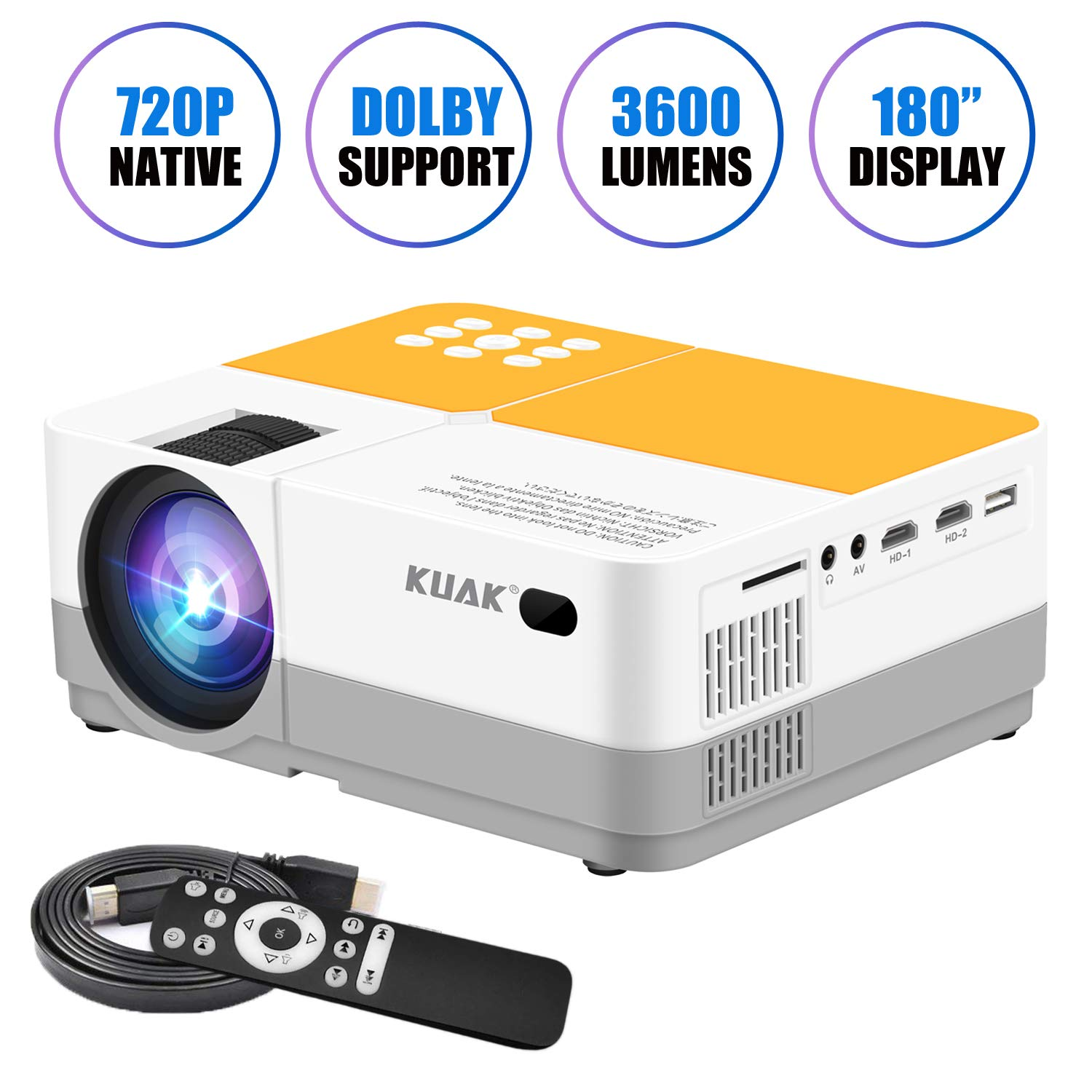 Projector, KUAK Native 720P Mini Portable Movie Projector, LCD HD Video Projector Support Full HD 1080P, Home Theater Projector with 180'' Screen and Electronic Zooming, Compatible with HDMI/VGA/AV/USB