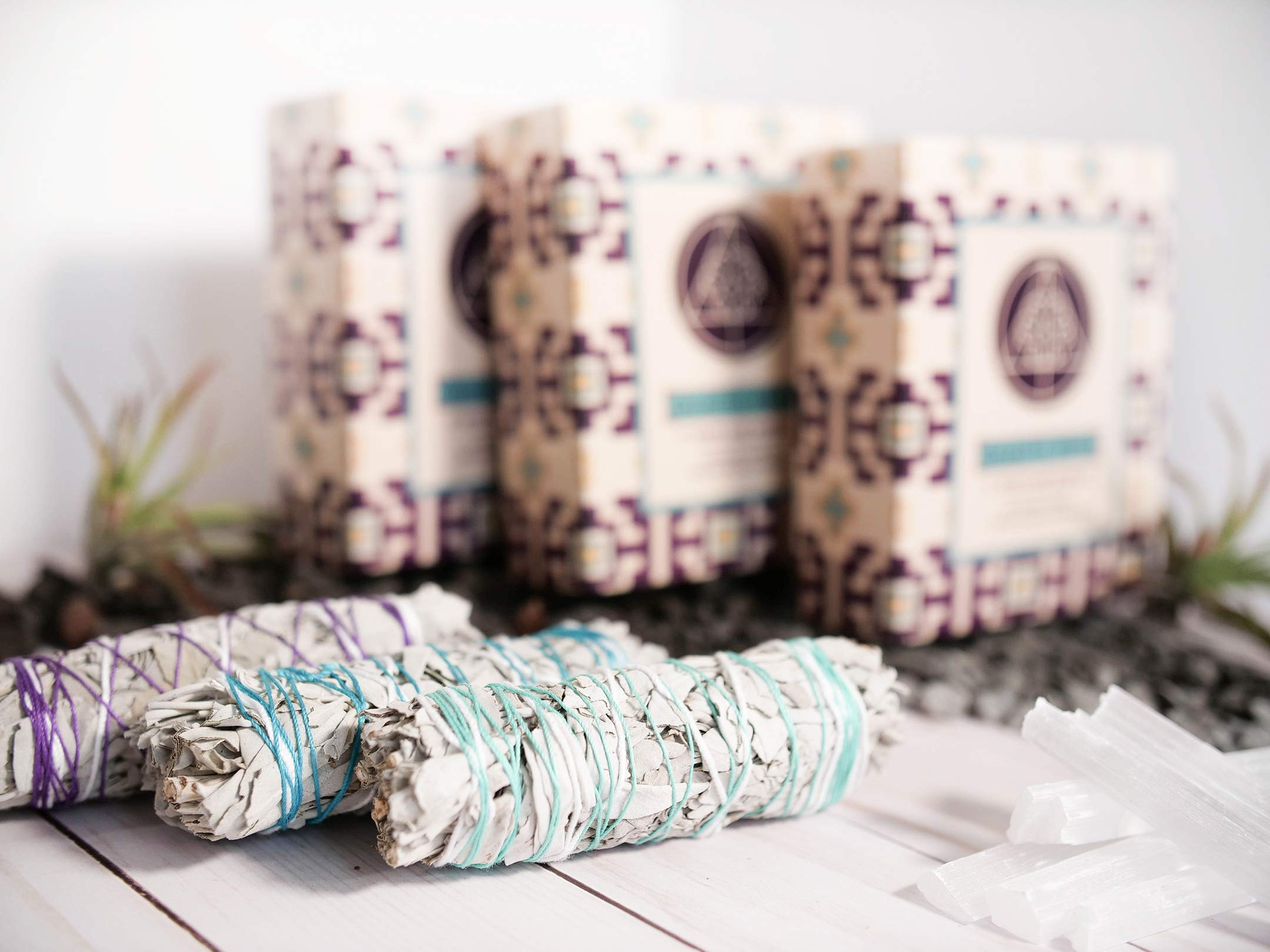 Galactic Brain 4 Inch White Sage Bundles | 3 White Sage Smudge Sticks with 2 Sample Palo Santo Sticks and 1 Selenite Crystal in Gift Set for Cleansing Your Home by Galactic Brain (Image #3)