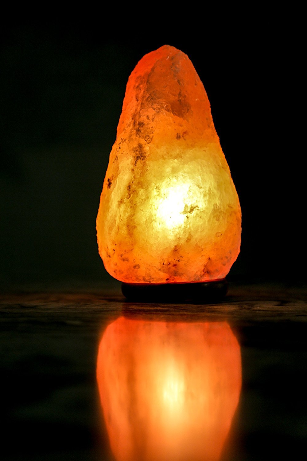 8 to 9 Inch Himalayan Salt Lamp Hand Carved, Natural Wood Base with Dimmer Control, 6-9 lb. Mined from Himalayan Mountain Range, Beautiful Amber Color, 100% Authentic Himalayan Salt Lamp by IKON (Image #7)