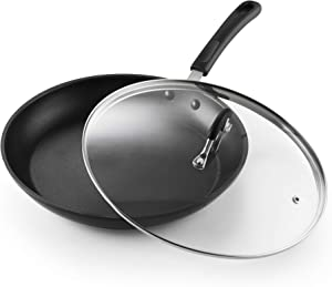 Cook N Home Professional Hard Anodize Saute Fry Pan, 12 inches, Black