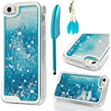 MOLLYCOOCLE iPhone SE Case, iPhone 5 5S Case Transparent Clear TPU Plastic Shell 3D Bling Sparkle Glitter Quicksand and Cute Star Flowing Liquid Cover for iPhone SE/5/5S - Blue