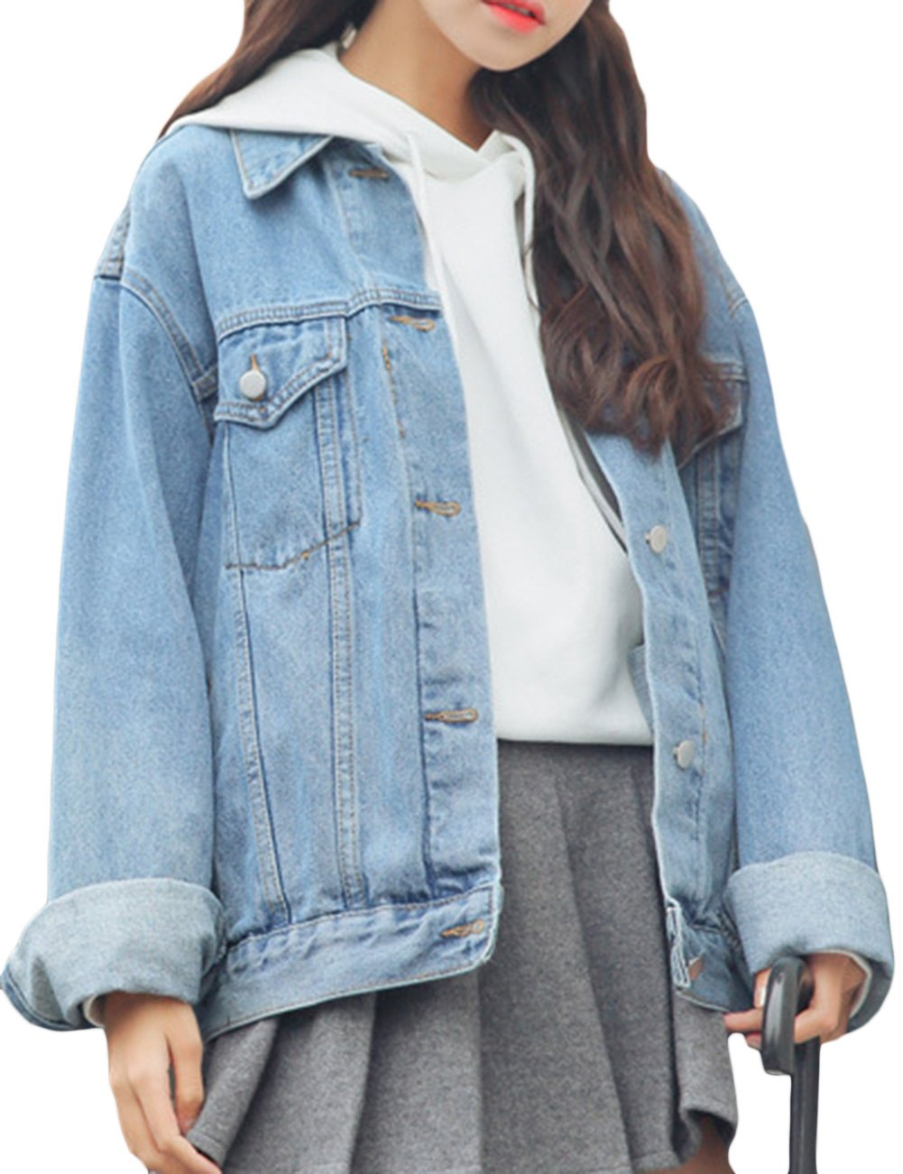 sandbank Women's Loose Fit Long Sleeve Button Boyfriend Denim Jacket Jean Coat (L, Light Blue)