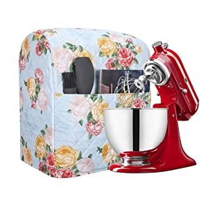 Kitchen Aid Mixer Cover Accessory, Stand Mixer Attachments Cover with Pockets, 5-8 Quart Mixer Dust Cover Compatible with Kitchenaid Mixers, Hamilton Mixers, Fits All Tilt Head & Bowl Lift Models TFC3