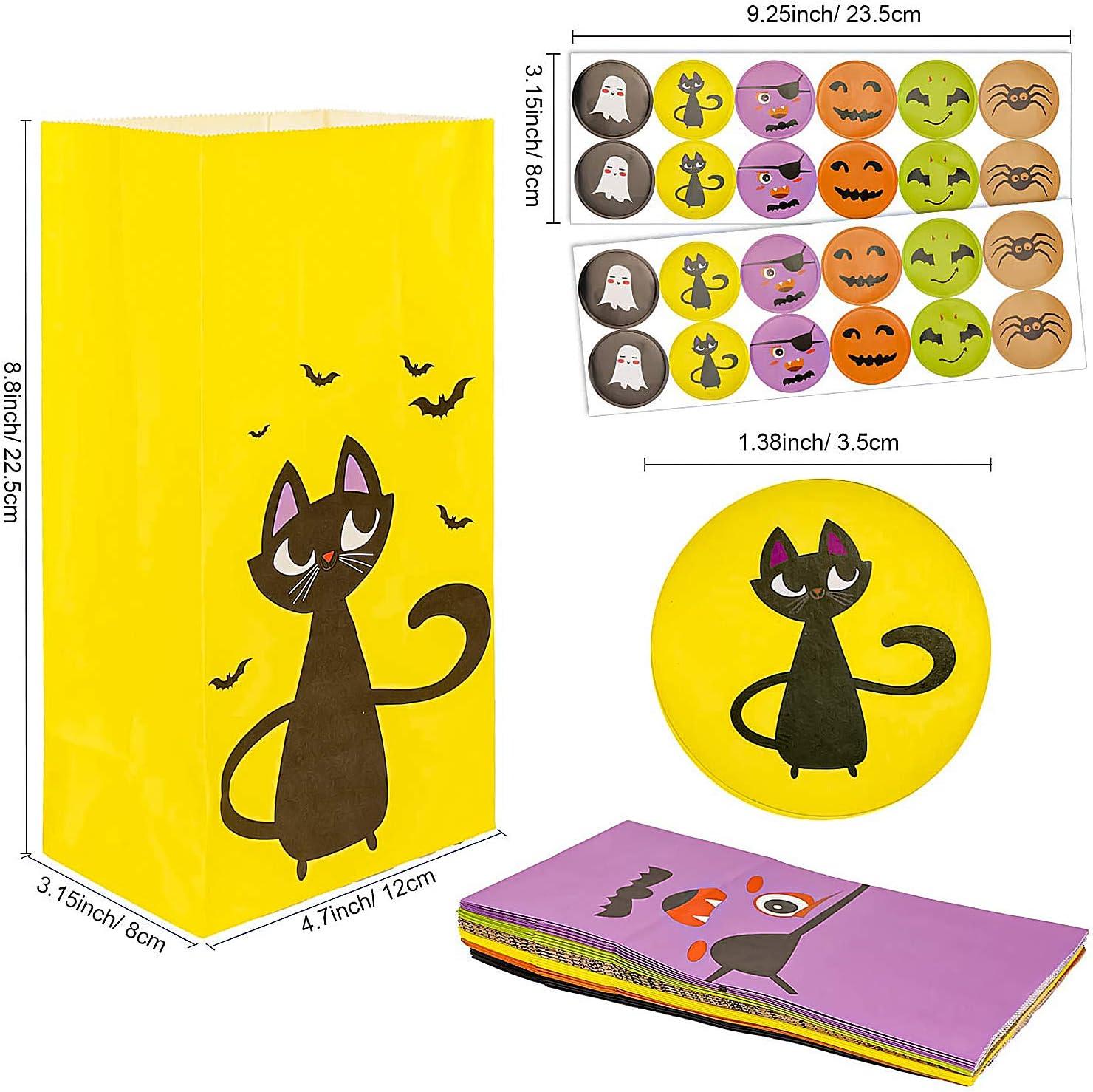 Sacchetti di Caramelle di Halloween Sacchetti da Regalo,Sacchetti Regalo di Carta Borsa da Festa Colorata Sacchetto di Carta Kraft con Halloween Stickers BINGFONE Sacchetti di Carta