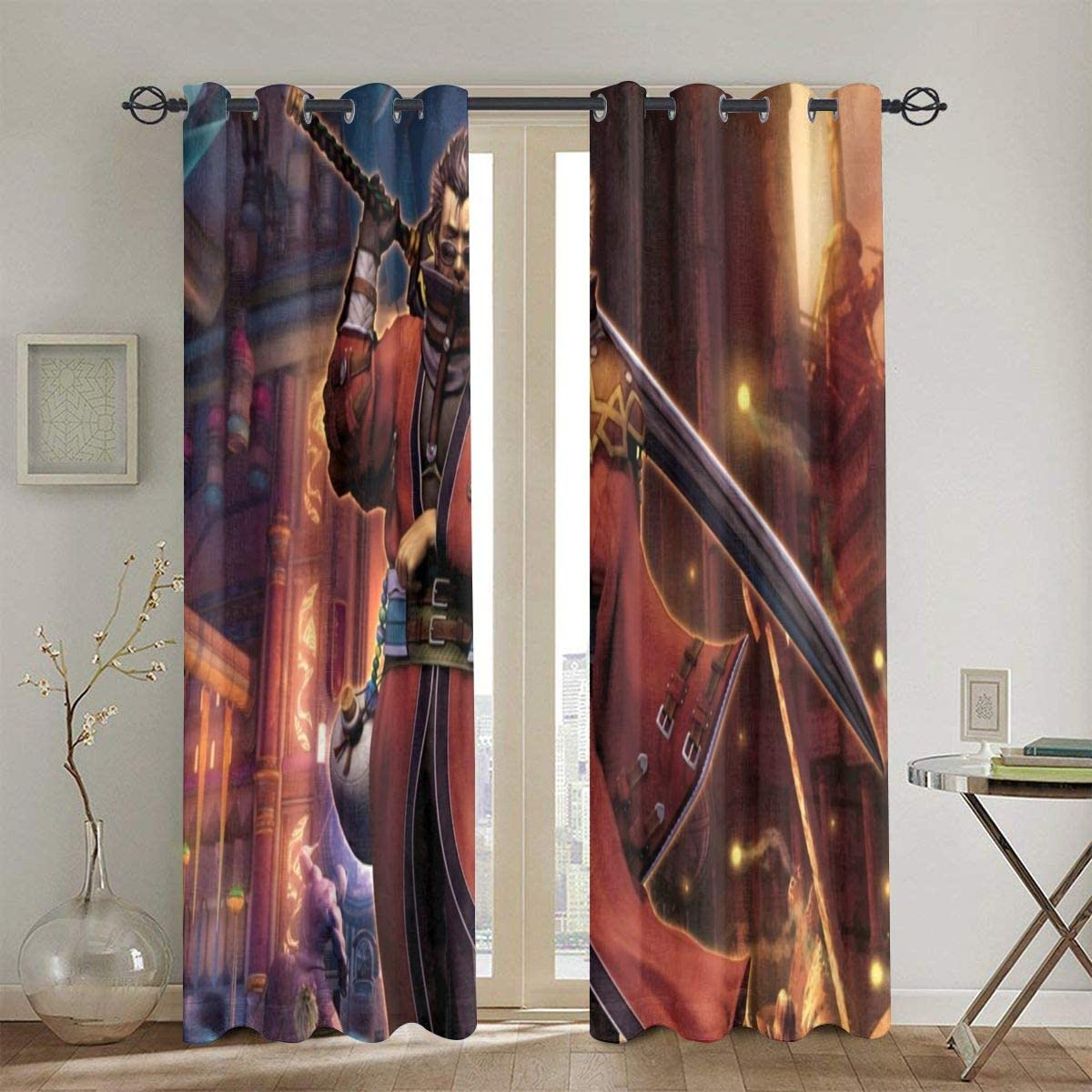 PHOEBE DOHERTY Final Fantasy X-Auron Anime Manga Window Treatment Curtain 2 Panels Each 52 X 72 in Punch for Badroom, Living Room