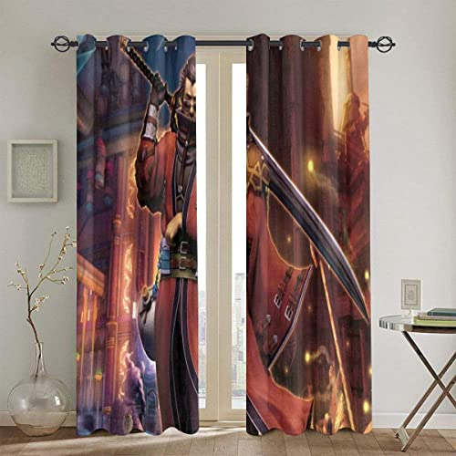 PHOEBE DOHERTY Final Fantasy X-Auron Anime Manga Window Treatment Curtain 2 Panels Each 52 X 72