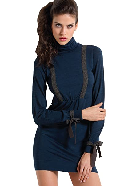 4662b4eca3cd SENSI  Vestito Donna Collo Alto Abito Manica Lunga Lana Viscosa Traspirante  Senza Cuciture Seamless Made in Italy  Amazon.it  Abbigliamento