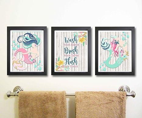 Amazon Com Silly Goose Gifts Beautiful Mermaid Bathroom Wall Art Decor Set Of Three Posters Prints