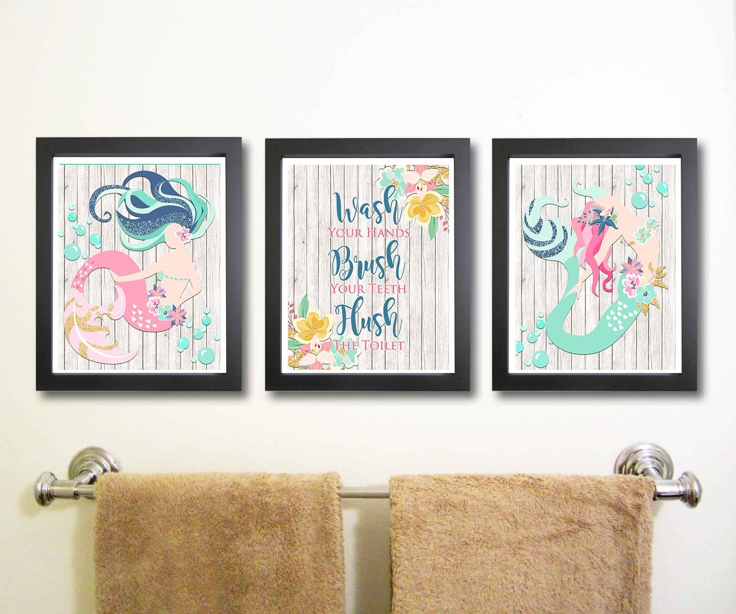 Beautiful Mermaid Bathroom Wall Art Decor (Set of Three)
